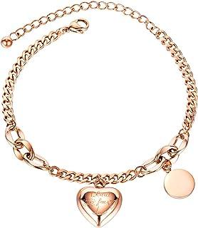 أساور قلب ميللوم للنساء، سوار مطلي بالذهب عيار 14 قيراط للفتيات المراهقات مجوهرات أنيقة