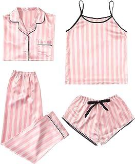 WDIRARA Conjunto de pijama de 4 piezas de satén Cami con camisa y pijama