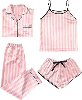 Women's Sleepwear 4pcs Striped Satin Pajama Set