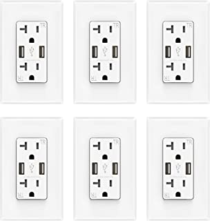 ELEGRP USB Charger Wall Outlet, Dual High Speed 4.0 Amp USB Ports with Smart Chip, 20 Amp Duplex Tamper Resistant Receptacle Plug, Wall Plate Included, UL Listed (6 Pack, White)