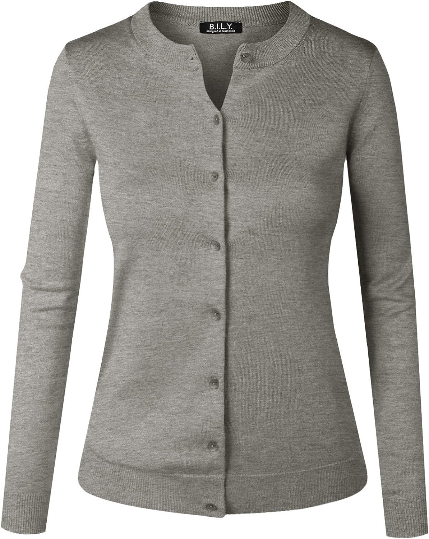 B.I.L.Y BILY Women's Unique Button Long Sleeve Soft Knit Cardigan Sweater Heather Grey 2 XXLarge