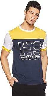 Amazon Brand - House & Shields Men's Printed Regular Fit Half Sleeve Cotton T-Shirt