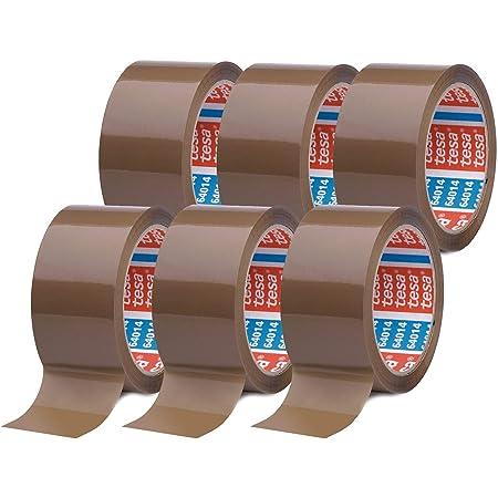 Tesapack 64014 en Paquet de 6 - Ruban Adhésif à déroulement silencieux pour Emballage des Colis et des Boîtes d'Expédition - Marron - 6 Rouleaux de 40 m