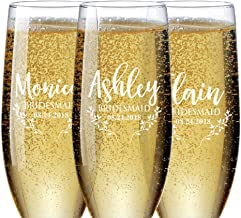 Set of 1-6, Personalized Bridesmaid Champagne Flutes, Bridesmaid Gifts, Toasting Glasses for Wedding, Bridal Party, Engraved Bridal Shower Champange Glasses - Maid of Honor
