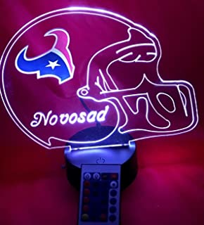 Houston Beautiful Handmade Acrylic Personalized Texans NFL Football Light Up Light Lamp LED Lamp, Our Newest Feature - It's WOW, With Remote, 16 Color Options, Dimmer, Free Engraved, Great Gift