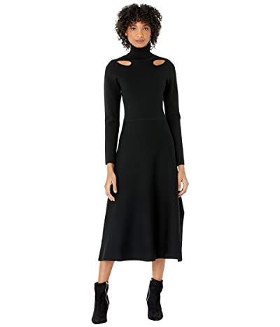 Jason Wu Merino Long Sleeve Knit Cutout Dress (Black) Women