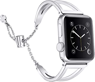 Secbolt Bands Compatible with Apple Watch Band 38mm 40mm iWatch SE Series 6/5/4/3/2/1, Women Dressy Metal Jewelry Bracelet Bangle Wristband Stainless Steel, Silver