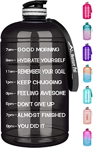 Venture Pal Large 128oz/74oz Leakproof BPA Free Fitness Sports Water Bottle with Motivational Time Marker to Ensure Y...