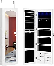 SONGMICS LED Jewelry Cabinet Armoire with 6 Drawers Lockable Door/Wall Mounted Jewelry Organizer White Patented UJJC88W