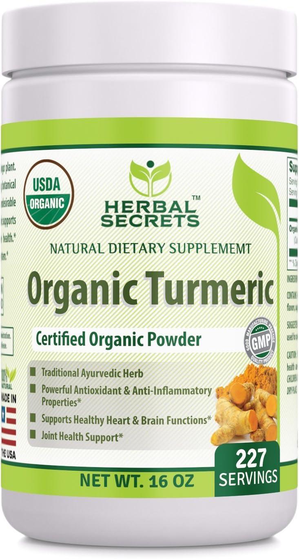 Herbal Secrets Max 54% OFF USDA Certified Organic Powder Los Angeles Mall 16 Non Turmeric oz