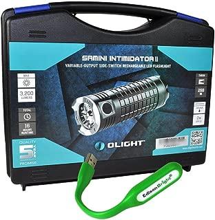 Olight SR Mini Intimidator II 3200 Lumen Cree XM-L2 LED diffused illumination Flashlight with USB charging cable, holster and EdisonBright USB powered reading light bundle