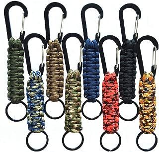 Paracord Keychain Carabiner, Braided Lanyard Utility Ring Hook Keys Knife Flashlight Outdoor Camping Hiking Backpack EDC Survival Kit