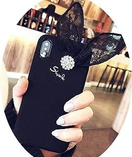 Chibi-Store Lace Bows Winter Plush for iPhonex 6S 8Plus Flannelette Women 7plus,Black,for iPhone 7Plus