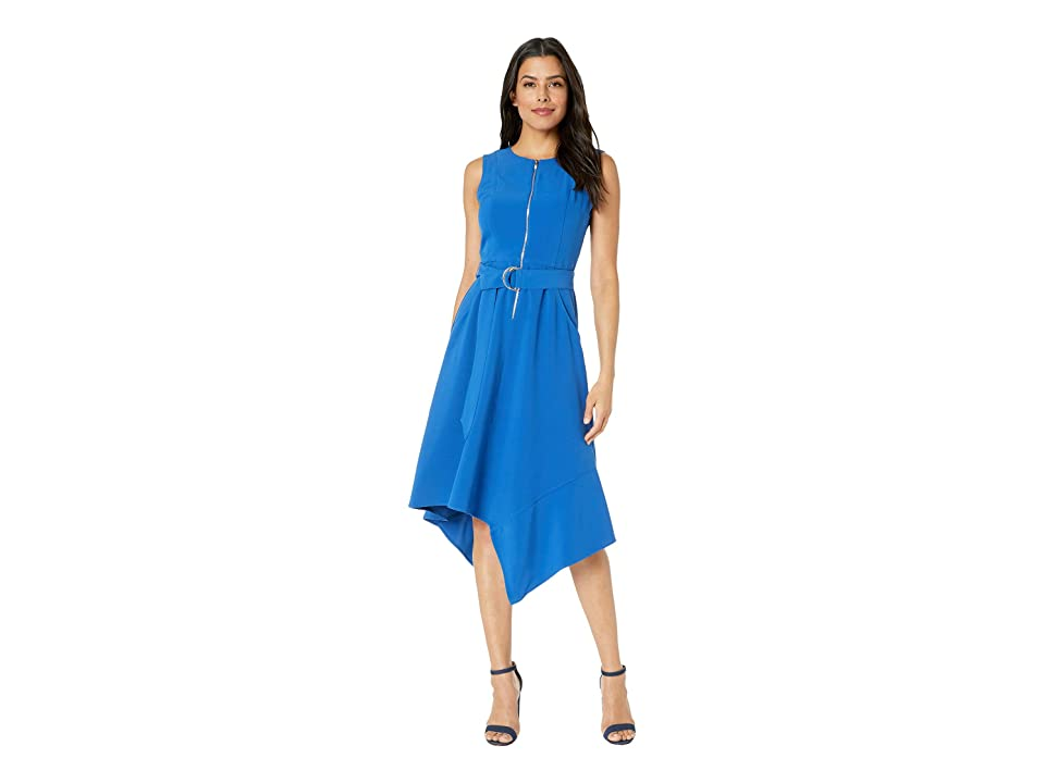 Taylor Sleeveless Solid Zip Front D-Ring Sash Dress (Electric Blue) Women