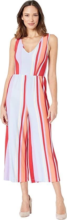Striped Jersey Cropped Jumpsuit