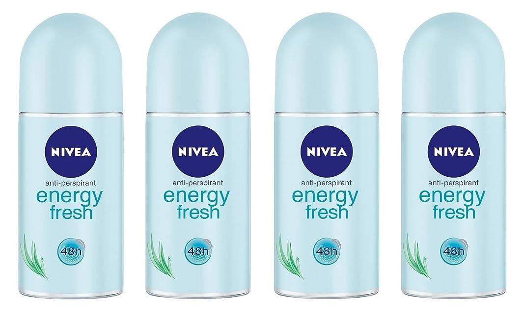 まばたきクアッガ無礼に(Pack of 4) Nivea Energy Fresh Anti-perspirant Deodorant Roll On for Women 4x50ml - (4パック) ニベアエネルギー新鮮な制汗剤デオドラントロールオン女性のための4x50ml