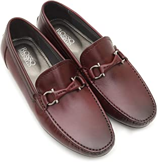 ROSSO BRUNELLO Mens Burgundy Moccasins Italian Leather Shoes
