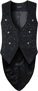 Mens Vest Waistcoat Tailcoat Black Damask Gothic Steampunk Victorian