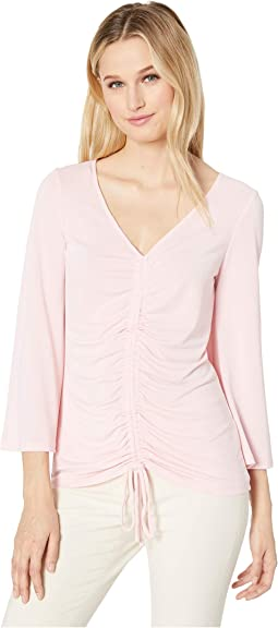 3/4 Sleeve V-Neck Jersey Top with Drawstring Detail
