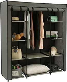 "Homebi Clothes Closet Portable Wardrobe Durable Clothes Storage Organizer Non-Woven Fabric Cloth Storage Shelf with Hanging Rod and 10 Shelves for Extra Storage in Grey, 59.05""W x 17.72"" D x 65.4""H"