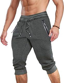 TACVASEN Cotton Shorts 3/4 Joggers Summer Outdoor Short Trousers Elastic Waist Capri Shorts with Zip Pockets