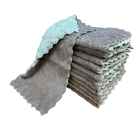 kimteny 12 Pack Kitchen Cloth Dish Towels, Premium Dishcloths, Super Absorbent Coral Velvet Dishtowels, Nonstick Oil Washable Fast Drying (Green-Grey)