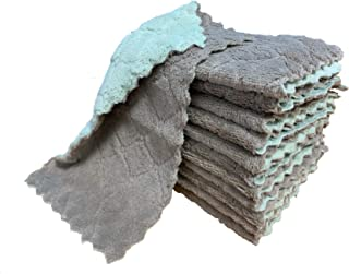 kimteny 12 Pack Kitchen Cloth Dish Towels, Premium Dishcloths, Super Absorbent Coral Velvet Dishtowels, Nonstick Oil Washa...