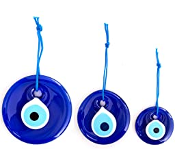 Erbulus Turkish Blue Evil Eye Wall Hanging Ornament – Turkish Nazar Beads - Triple Evil Eye Home Protection Charm - Wall D...