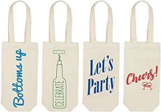 Wine Tote Bags - 4-Pack Wine Carrying Bag Set, Ideal Bottle Gift Bags, Travel Storage Bags, Picnic Wine Accessories, 4 Fun, Unique Designs - 6.5 x 12.2 x 2.8 Inches