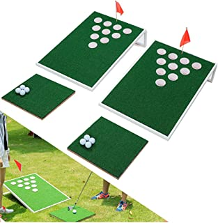 sprawl indoor golf cornhole set - golf pong game - two cornhole boards and two chipping mats - exciting chip game for enthusiasts & beginners practice backyard game