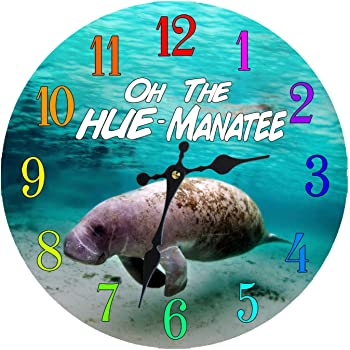 Wall Clock Glass Manatee Decorative 13 Inch Beach Theme Perfect Decor for Kitchen Bathroom Office Rustic Battery Operated Clocks Great Nautical Theme for Bedroom Ocean Decoration Ticking Tropical