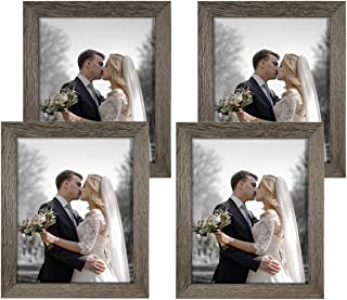 NUOLAN 8x10 Picture Frame Rustic Gray Wood Pattern Art Photo Frames 4 Packs for Wall or Tabletop Display (NL-PF8X10-RG)