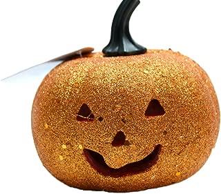 Orange Glitter LED Flashing Light Pumpkin Halloween Decoration (Pack of 2)