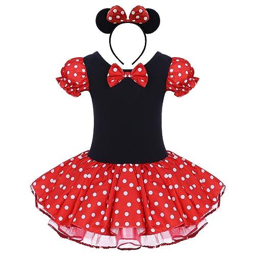 9822bffa7d Girls Polka Dots Princess Costume Christmas Birthday Party Dress up with  Mouse Ears Headband 2PCS Set
