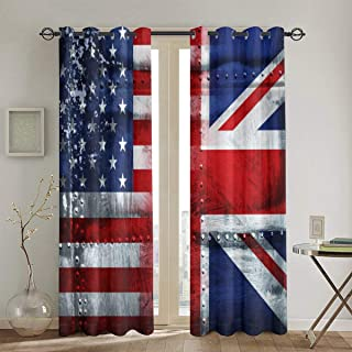 Gggo Blackout Curtains,Alliance Togetherness Theme Composition of UK and USA Flags Vintage,Thermal Insulated Window Drapes 2 Panel Set