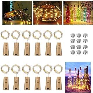 Vicloon luz de Botella Led, [12 Piezas] 2m 20LEDs luces led para Botellas, Blanco Cálido luz Corcho Botella de Vino Alambre de Cobre Luces de Hadas para Navidad, Fiesta, Hogar, Exterior