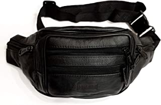 Comfortable Leather Fanny Pack   Adjustable   7 pockets
