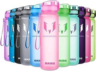 MAIGG Botella de Agua Deporte 500ml/1000ml, sin bpa tritan plastico, Reutilizables a Prueba de Fugas Botellas Potable con Filtro Colegio, Sport, Gimnasio, Trekking, Bicicleta