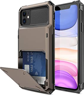 Elegant Choise Compatible iPhone 11 6.1 inch Case, Wallet (4 Card) Credit Card Slot Holder Case Hybrid Dual Layer Rugged Shockproof Full Body Protective Bumper Rubber Armor Cover (Black)