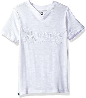 AKADEMIKS Kids Little Boys' Short Sleeve Slub Jersey V-Neck Tee, White, 5-M