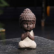 1pc Small Buddha Statue Monk Figurine Tathagata India Yoga Tea Pet Purple Ceramic Crafts Decorative Ceramic Ornaments (Col...