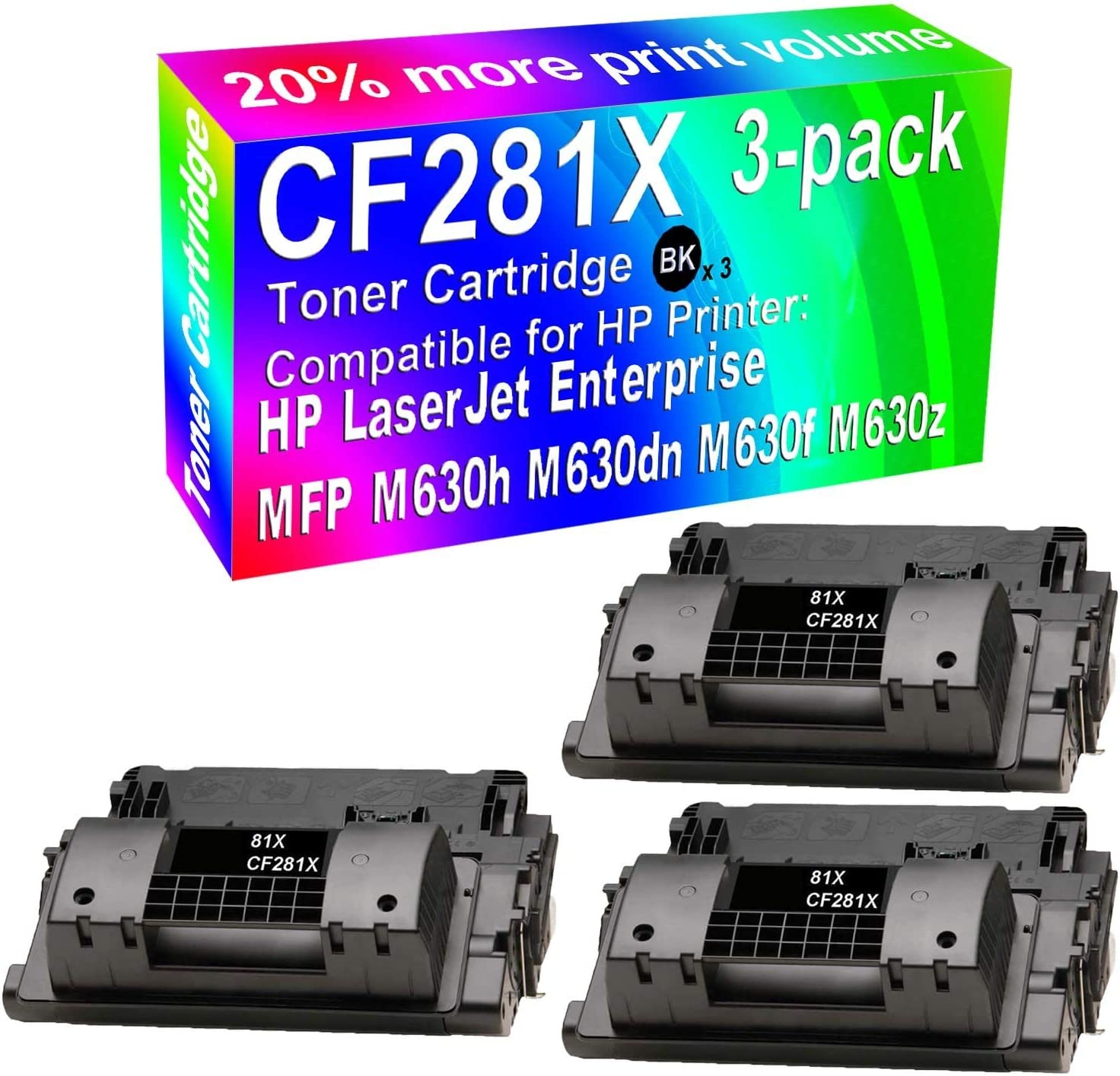 3-Pack (Black) Compatible High Yield CF281X Toner Cartridge use for HP M118dw M630dn M630f M630z Printer