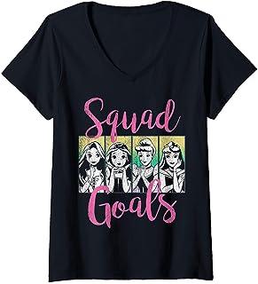 Femme Disney Princess Squad Goals Vintage Group Shot Poster T-Shirt avec Col en V