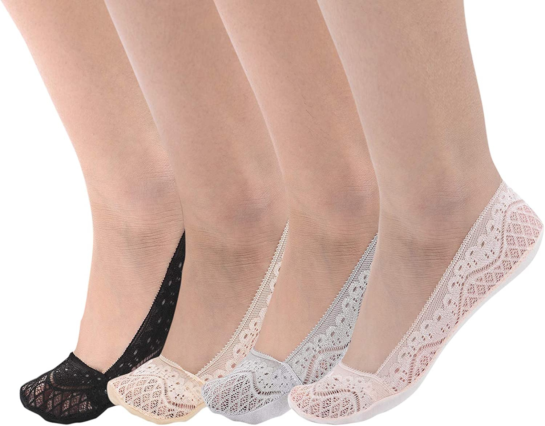Flammi 4 Pairs Women's Low Cut Lace No Show Liner Socks Cotton Bottom Non Slip