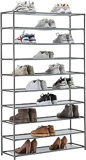 YOUDENOVA 10 Tier Tall Shoe Rack, 50 Pair Shoe Rack Organizer, Shoe Storage Cabinet, Non-Woven Fabric & Metal, (Grey)