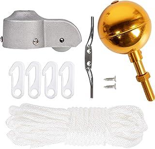 "NQ Flagpole Hardware Repair Parts Kit - 50 Feet Halyard Rope + 3"" Gold Ball + 6"" ZincAlloy Cleat + 4 PCS Nylon Hook Clips..."