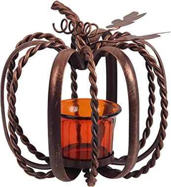 CALIDAKA Pumpkin Candle Holder,Wrought Iron Pumpkin Candle Holder for Copper Finish Fortea Light and Votive Flameless Candles