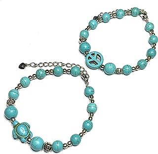 أساور بخرز على شكل سلحفاة البحر مع علامة السلام - سوار بخرز من الحجر الطبيعي أو خلخال - مجوهرات للنساء (عبوة من قطعتين)