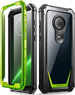 Moto G7 Rugged Clear Case, Poetic Full-Body Hybrid Shockproof Bumper Cover, Built-in-Screen Protector, Guardian Series, DO NOT FIT Moto G7 Power Or Moto G7 Play, Green/Clear