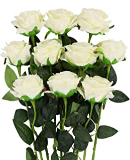 Luyue Artificial Silk Rose Flower Bouquet Wedding Party Home Decor, Pack of 10(Style 1-Off White)